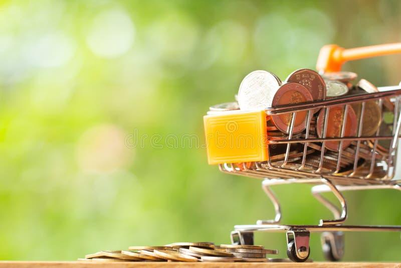 Pila de monedas en el carro de la compra anaranjado que hace compras en el verdor con el fondo del bokeh de la belleza foto de archivo