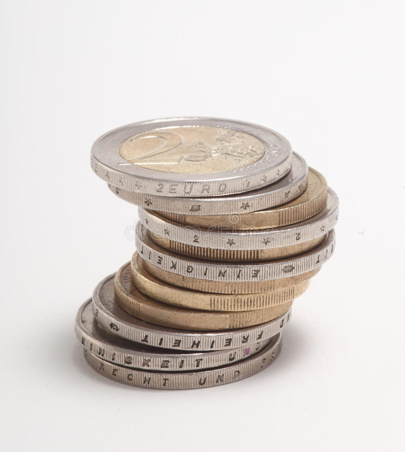 Pila de monedas euro imágenes de archivo libres de regalías
