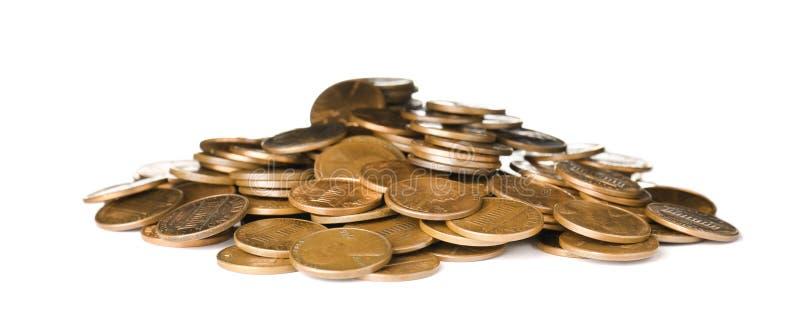 Pila de monedas de los E.E.U.U. en blanco imágenes de archivo libres de regalías