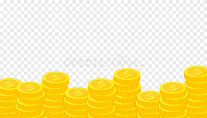 Pila de monedas de oro Concepto de ahorro, donación, invirtiendo pagando el ejemplo libre illustration