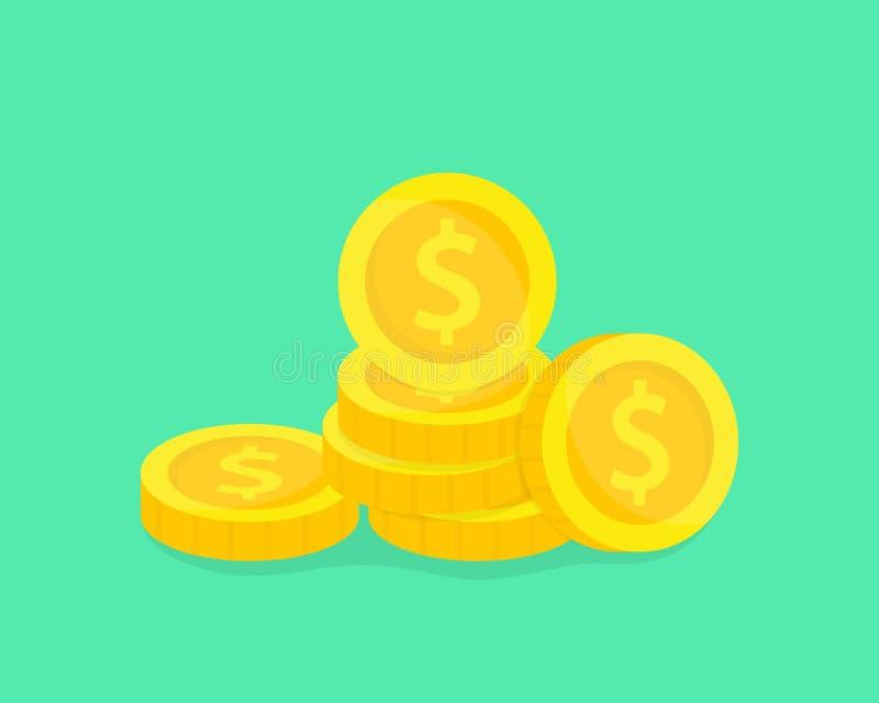 Pila de monedas de oro Ejemplo del vector del dinero Concepto de ahorro, donación, invirtiendo pagando el ejemplo libre illustration