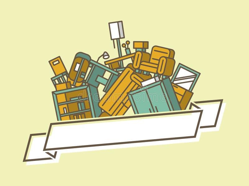 Pila de muebles stock de ilustración