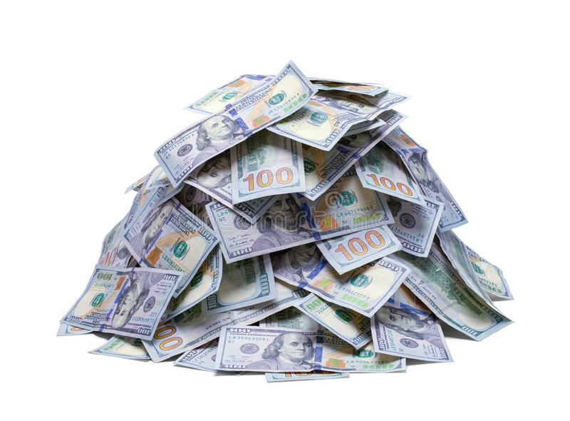 Pila de nuevos cientos billetes de dólar imágenes de archivo libres de regalías