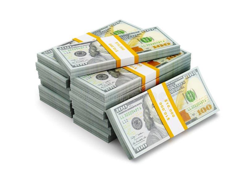 Pila de nuevos 100 dólares de EE. UU. de billetes de banco 2013 de la edición (cuentas) s stock de ilustración