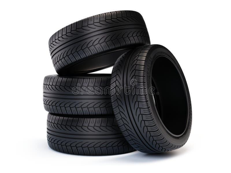 Pila de nuevos neumáticos de coche Neumáticos aislados en el fondo blanco stock de ilustración