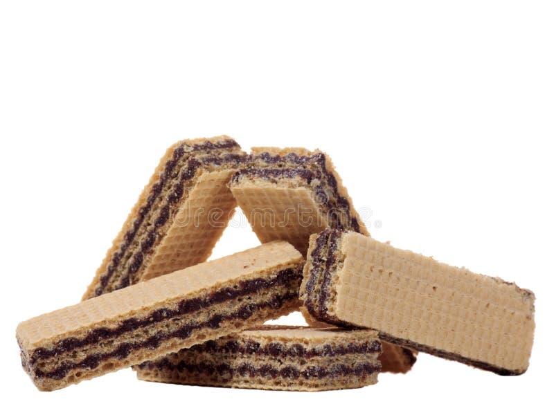 Pila de oblea del chocolate aislada foto de archivo libre de regalías
