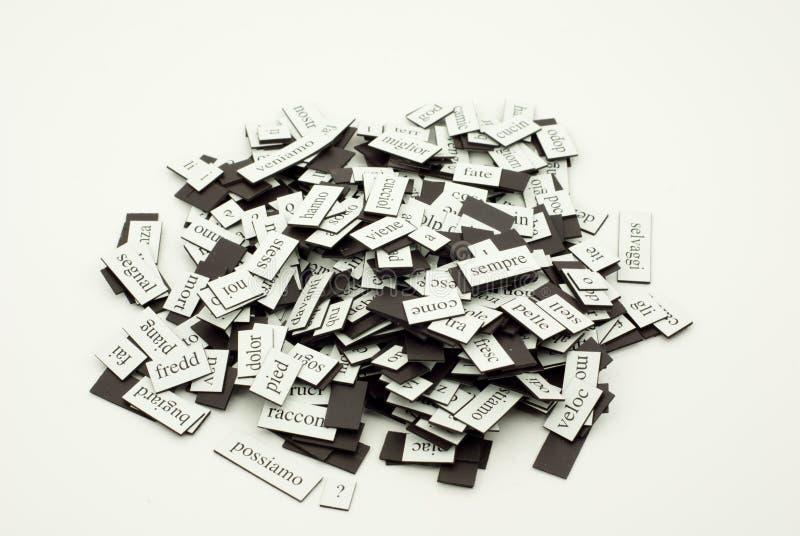 Pila de palabras italianas foto de archivo