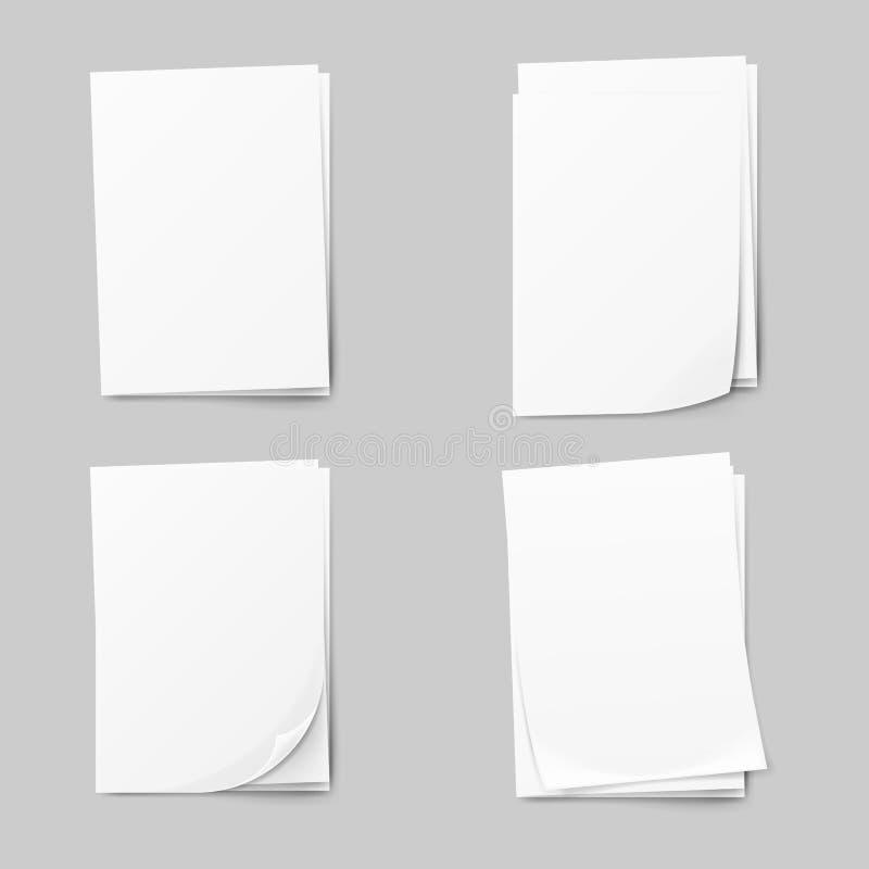 Pila de papeles en blanco fijados Hoja de papel realista del blanco de la colección ilustración del vector