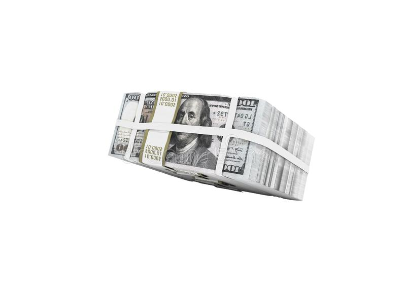 Pila de paquete de dólares que caen en medio 3d para no rendir en el fondo blanco ninguna sombra libre illustration