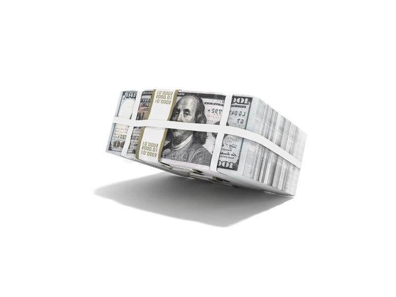 Pila de paquete de dólares que caen en medio 3d para rendir en el fondo blanco con la sombra stock de ilustración