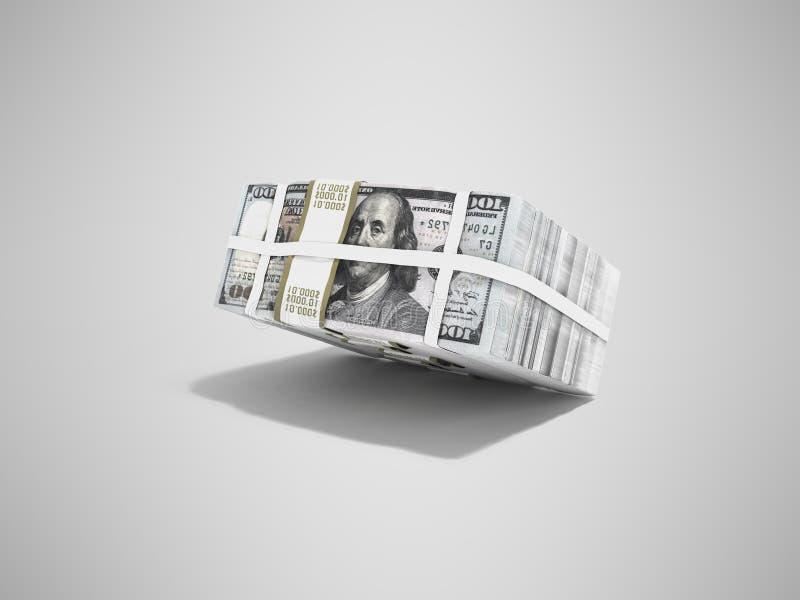 Pila de paquete de dólares que caen en medio 3d para rendir en fondo gris con la sombra stock de ilustración