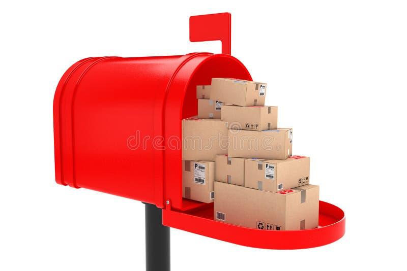 Pila de paquetes apilados de las cajas de cartón en buzón rojo rende 3D libre illustration