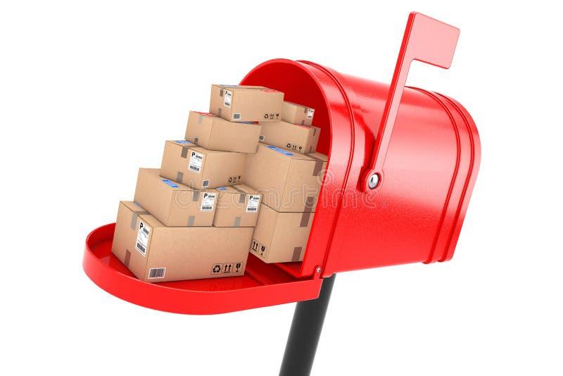 Pila de paquetes apilados de las cajas de cartón en buzón rojo rende 3D stock de ilustración