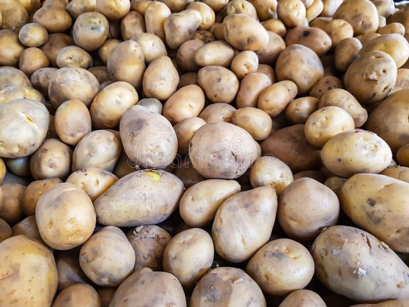 Pila de patata en el mercado vegetal fotografía de archivo