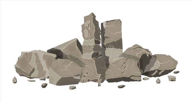 Pila de piedra de la roca Rocas de las piedras de tamaños de los variuos ilustración del vector