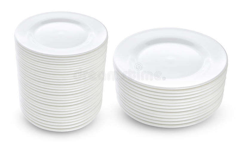 Pila de placas blancas aisladas foto de archivo