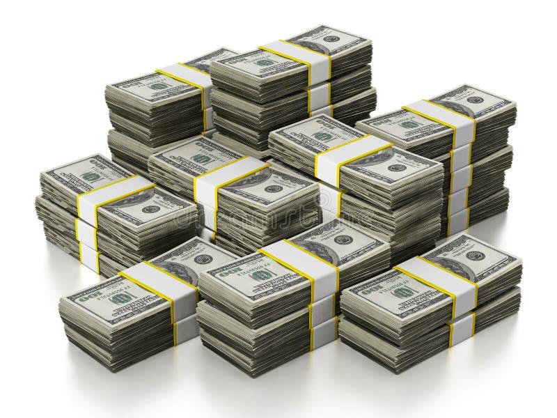 Pila de 100 porciones del dólar en el fondo blanco ilustración 3D stock de ilustración