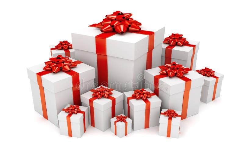 Pila de presentes de la Navidad o de cumpleaños stock de ilustración