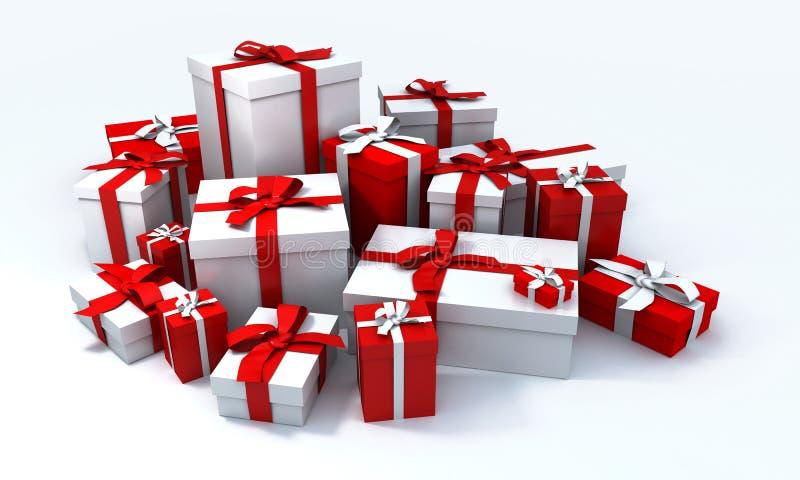 Pila de presentes del blanco y de un r ilustración del vector