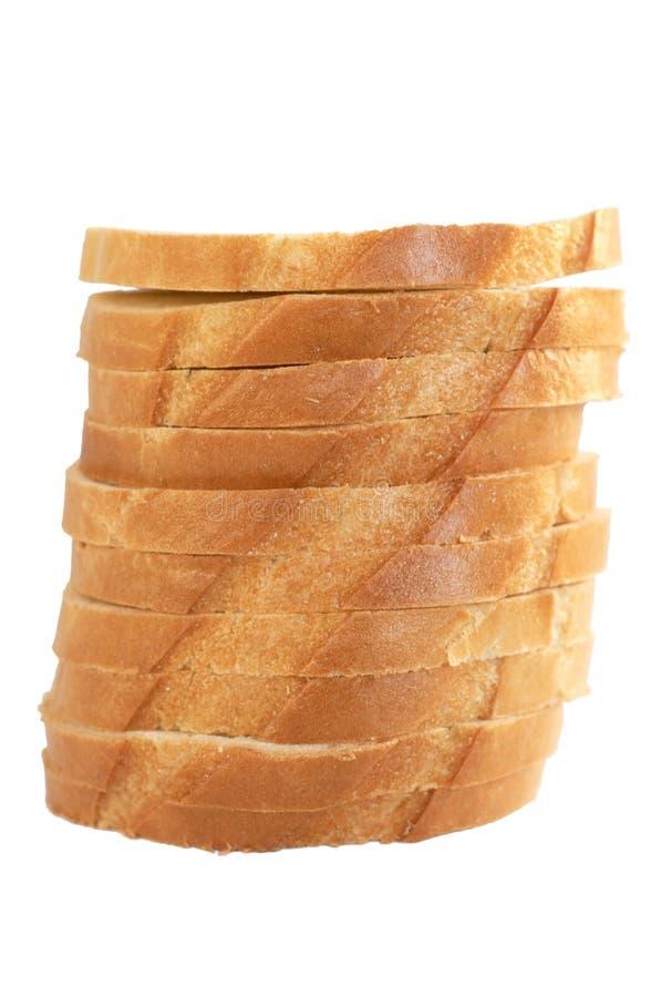 Pila de rebanadas de un pan blanco imagenes de archivo