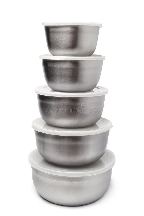 Pila de recipientes met licos de la comida foto de archivo for Recipientes cocina