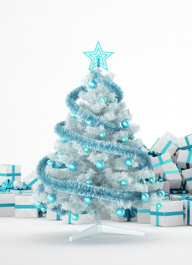 Pila de regalos de Navidad y de árbol de navidad stock de ilustración