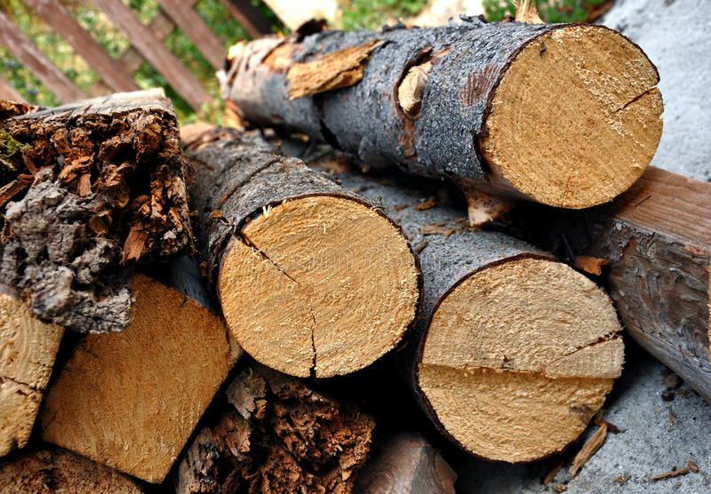 Pila de registros de madera imagen de archivo libre de regalías