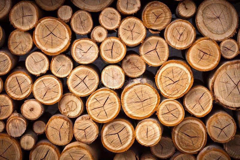 Pila de registros de madera listos para el invierno foto de archivo libre de regalías