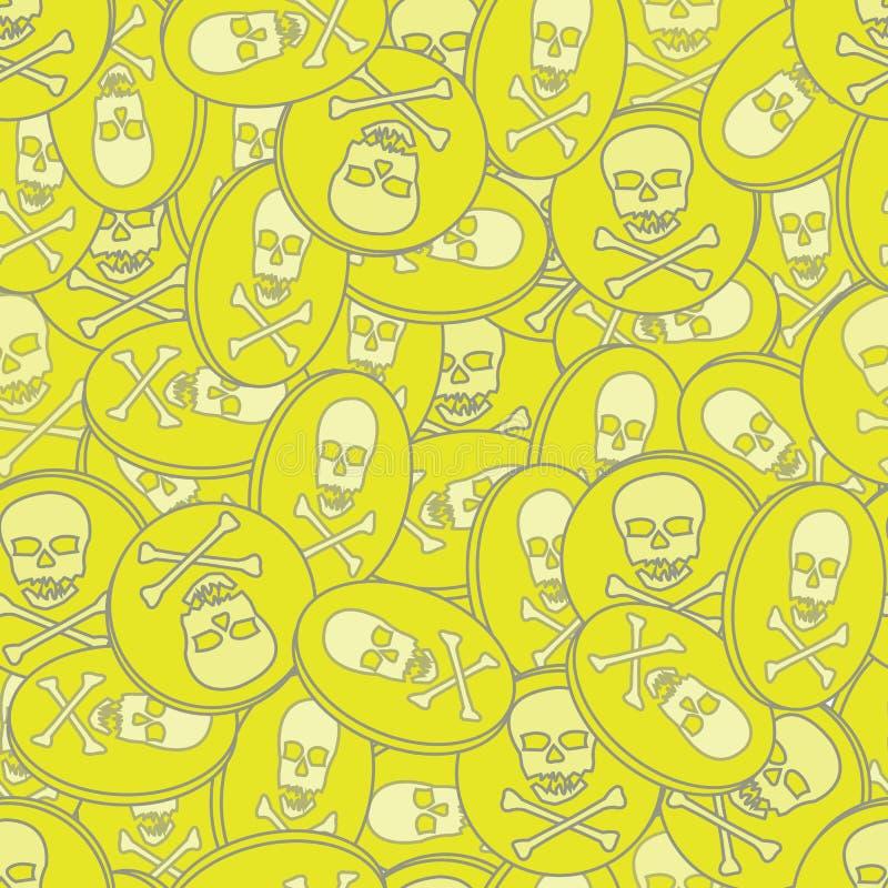 Pila de repetición inconsútil del vector del oro de los piratas stock de ilustración