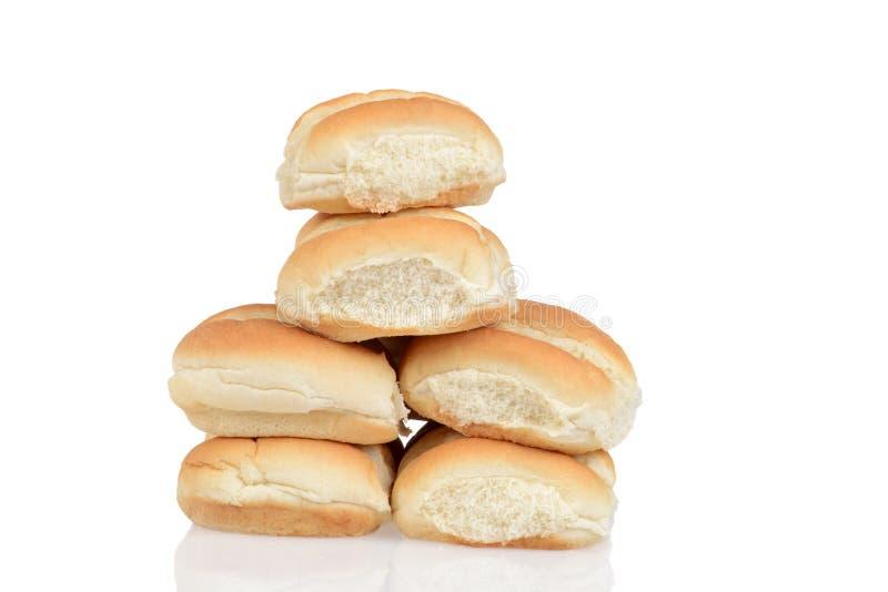 Pila de rollos de pan fresco fotos de archivo