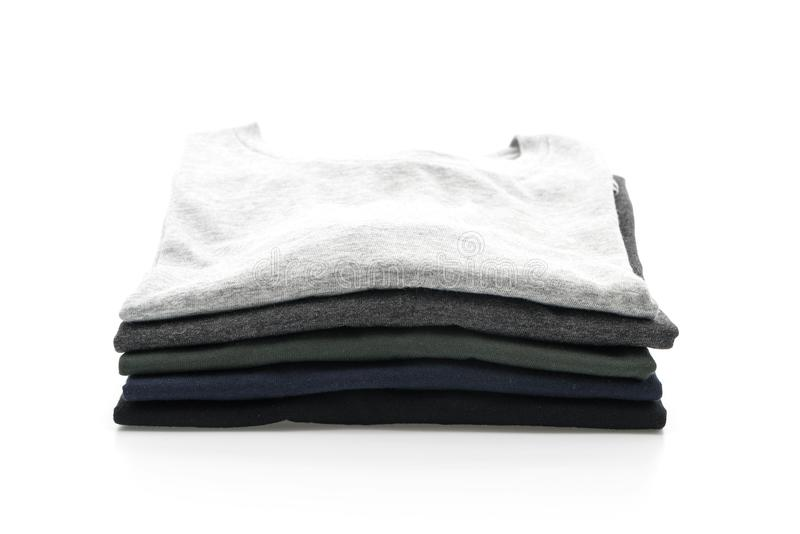 Pila de ropa en blanco imágenes de archivo libres de regalías