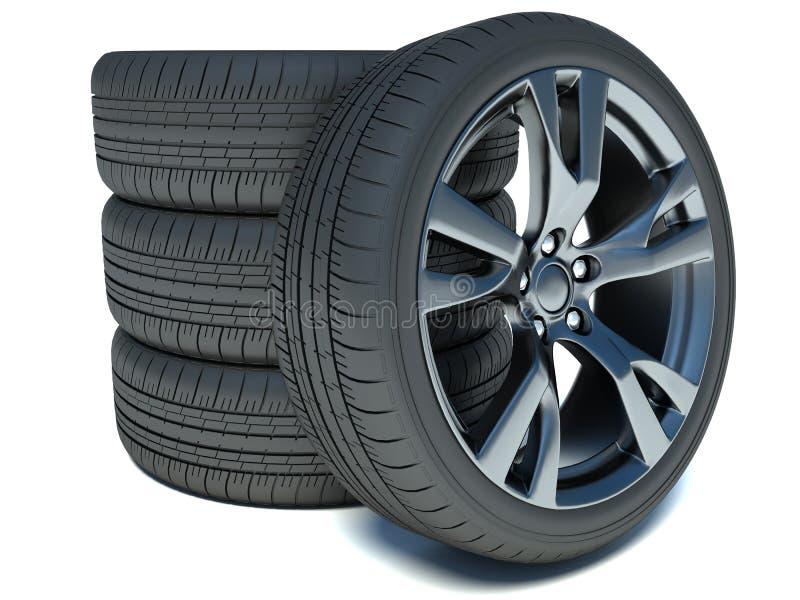 Pila de ruedas de coche ilustración del vector