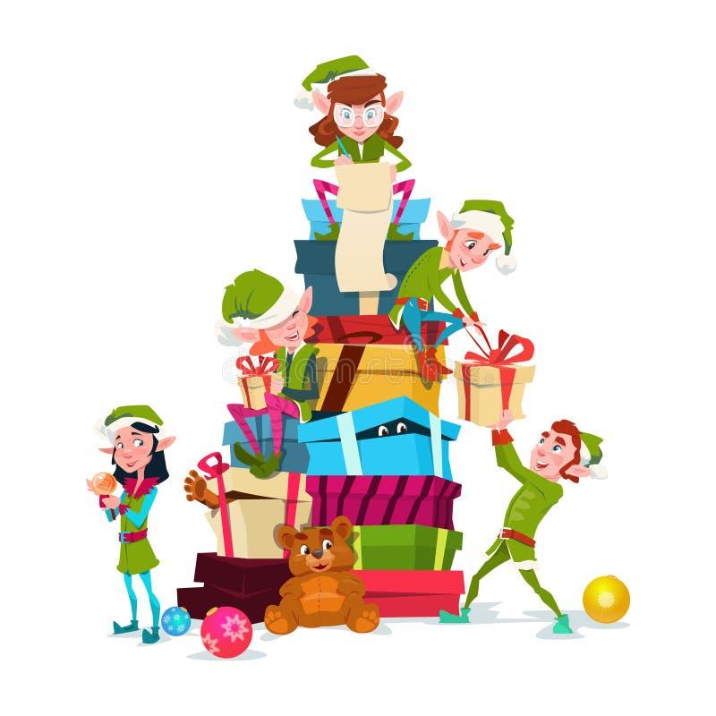 Pila de Santa Helper With Present Box del personaje de dibujos animados del grupo del duende de la Navidad ilustración del vector