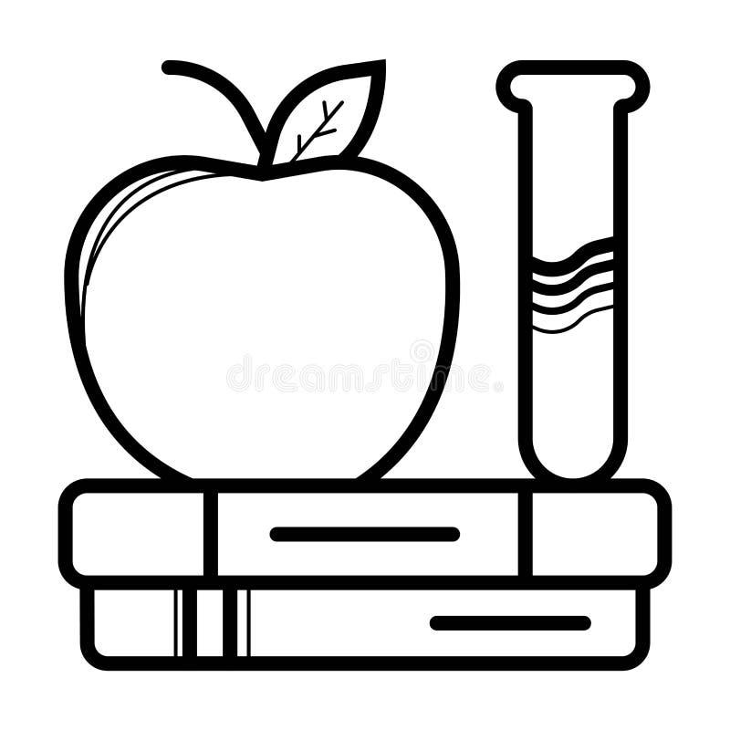 Pila de silueta y de manzana del esquema de los libros Aislado en el fondo blanco Icono plano del minimalismo Ilustraci?n del vec stock de ilustración