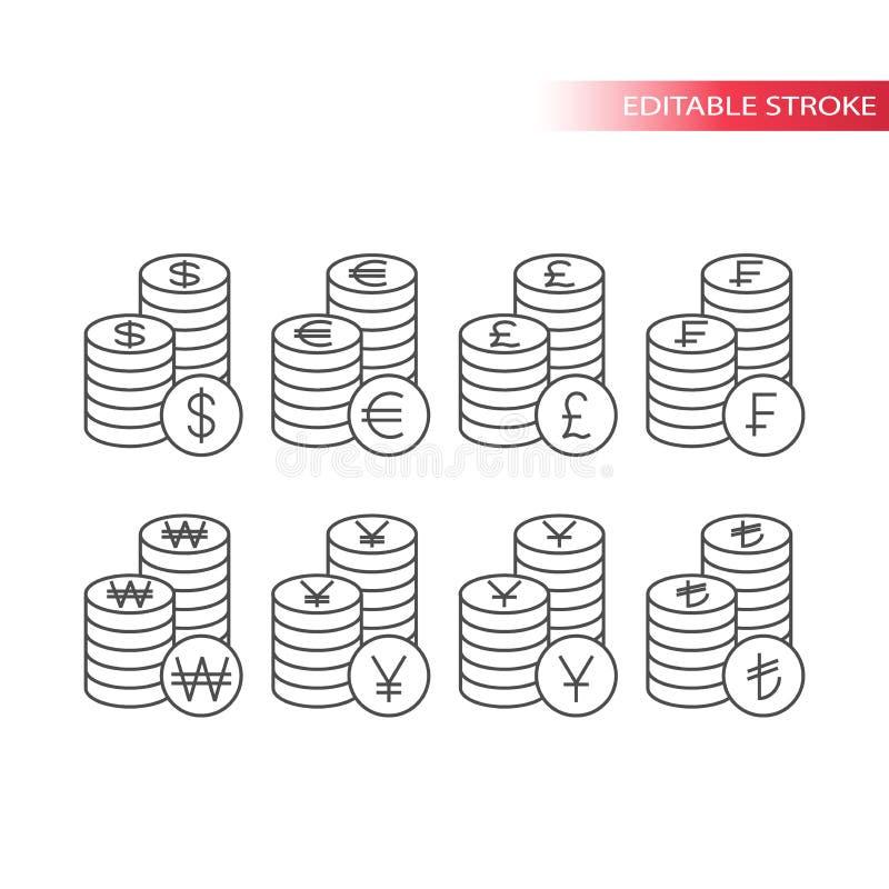 Pila de sistema del icono del dinero del vector de las monedas de la moneda stock de ilustración