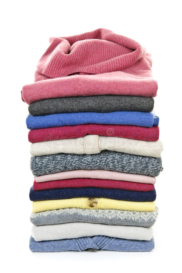 Pila de suéteres imagen de archivo