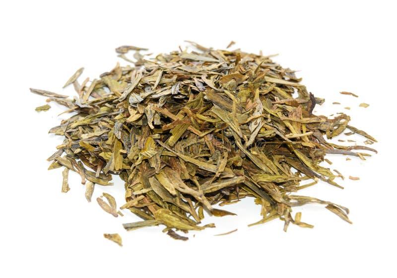 Pila de té de Longjing o de té de Dragon Well foto de archivo libre de regalías