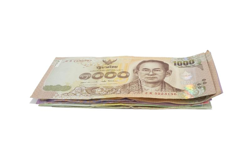 Pila de Tailandia 1000 billetes de banco del baht imagenes de archivo