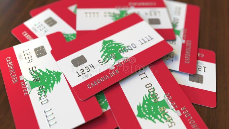 Pila de tarjetas de cr?dito con la bandera de L?bano Representación conceptual 3D del sistema bancario libanés stock de ilustración