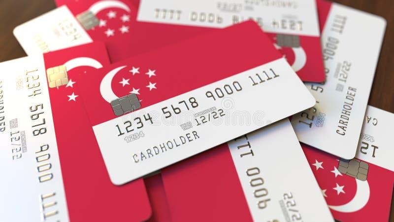 Pila de tarjetas de cr?dito con la bandera de Singapur Representación conceptual 3D del sistema bancario singapurense libre illustration