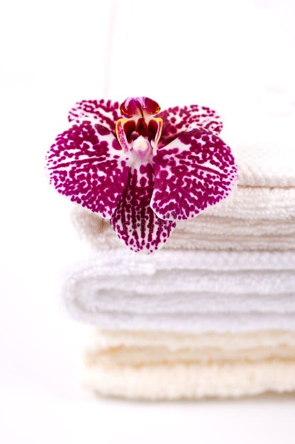 pila de toallas y de la orquídea imagen de archivo libre de regalías