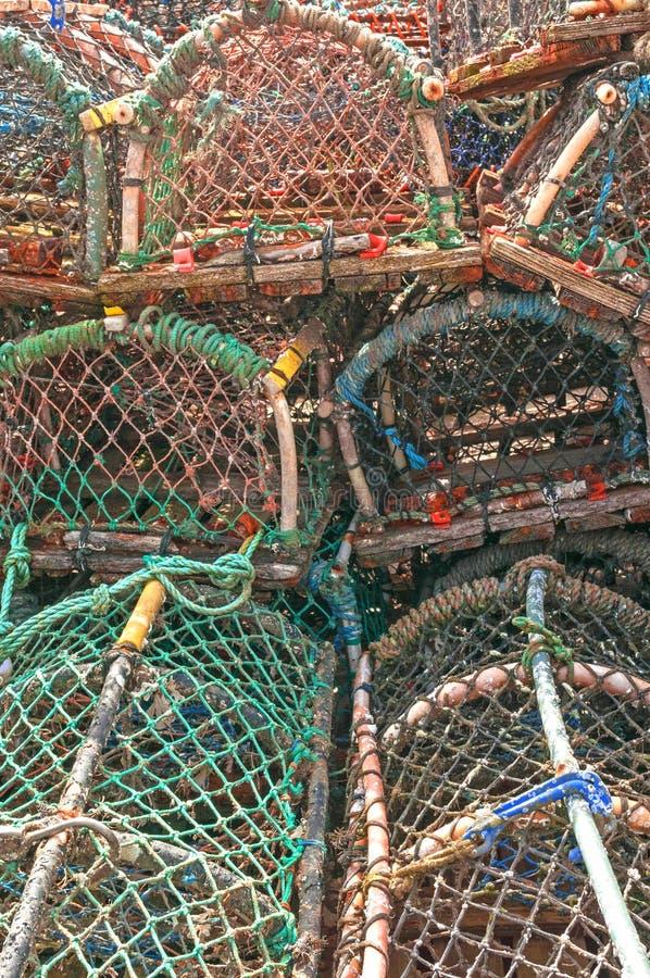 Pila de trampas de los potes de cangrejo de la langosta imagen de archivo libre de regalías