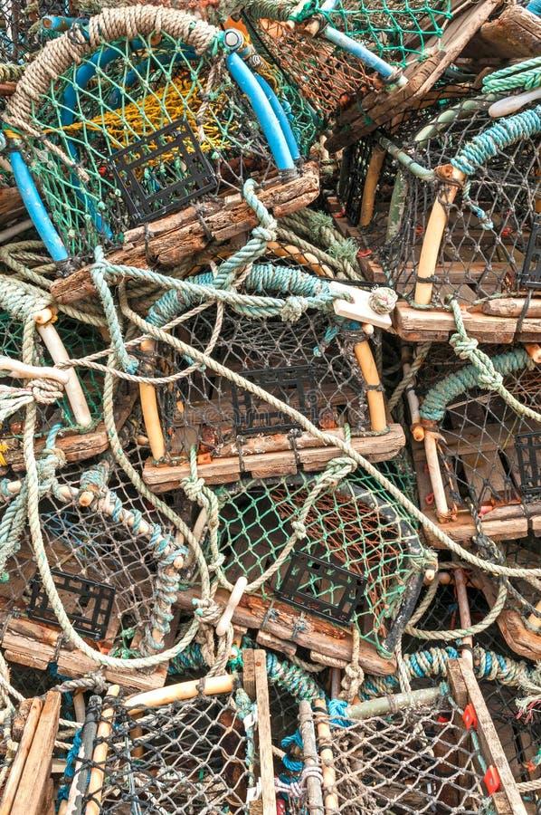 Pila de trampas de los potes de cangrejo de la langosta fotografía de archivo libre de regalías