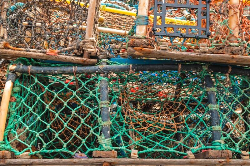 Pila de trampas de los potes de cangrejo de la langosta imagen de archivo