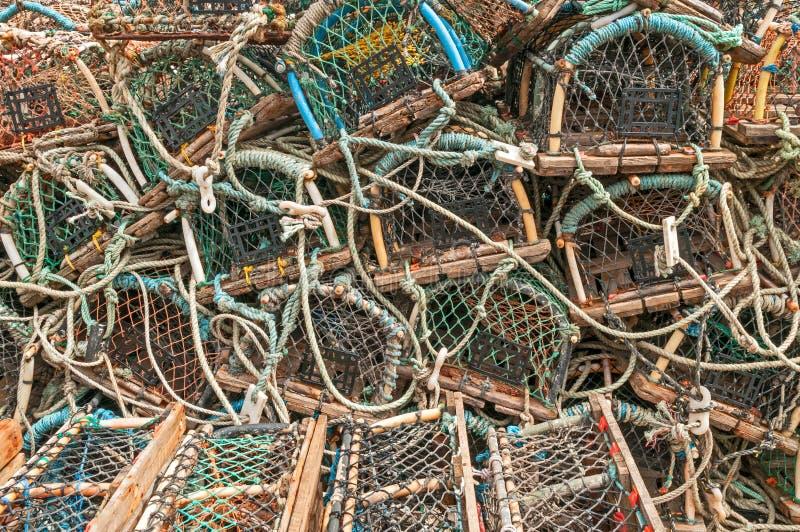 Pila de trampas de los potes de cangrejo de la langosta fotografía de archivo