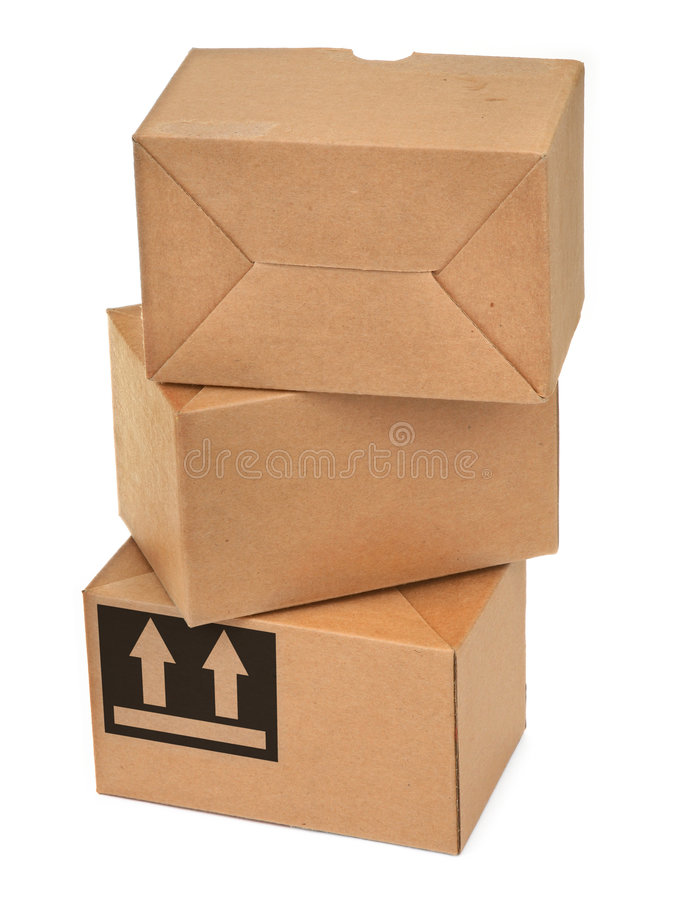 Pila de tres cajas de cartón foto de archivo libre de regalías