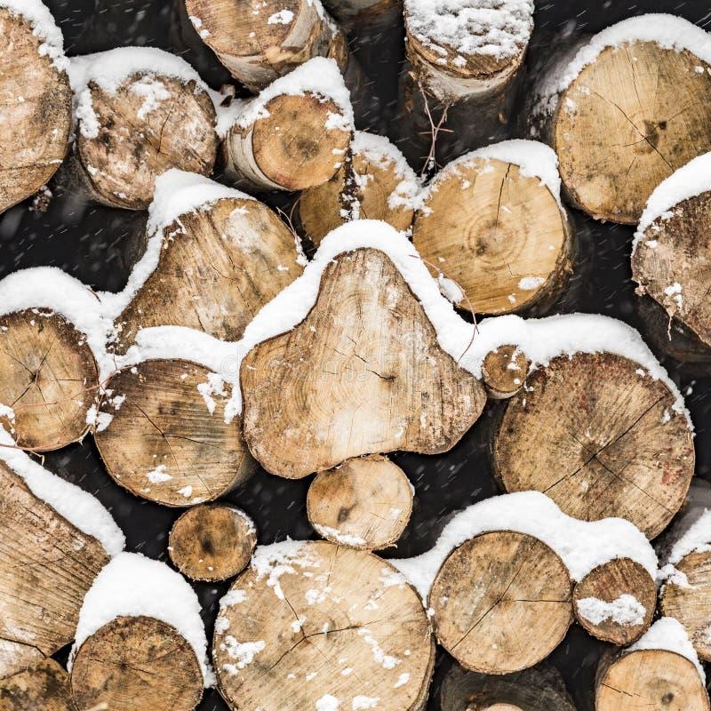Pila de troncos en invierno con las marcas imagen de archivo