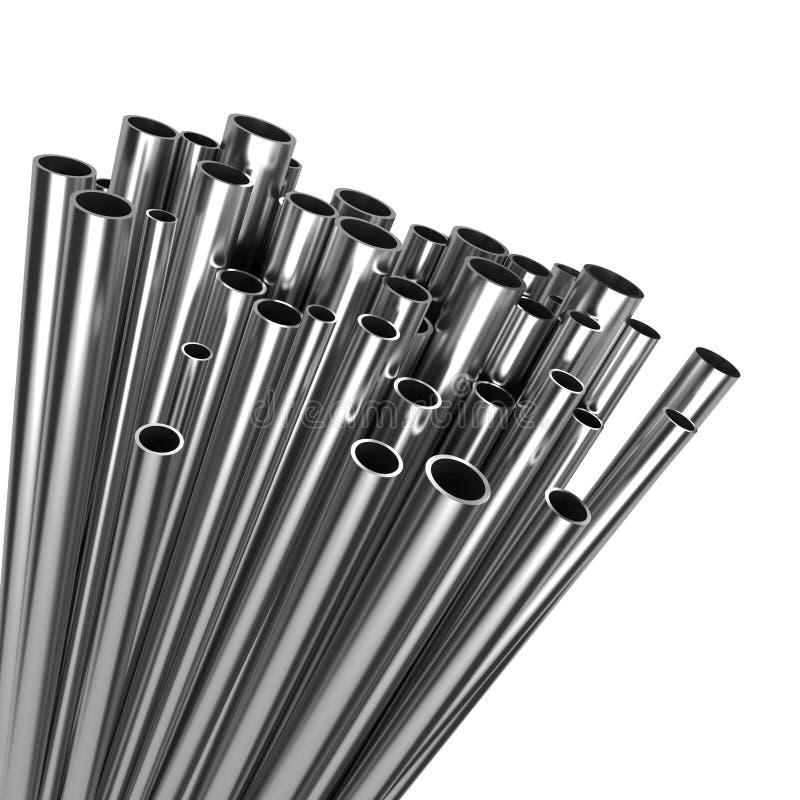 Pila de tuberías de acero aisladas en el fondo blanco. libre illustration