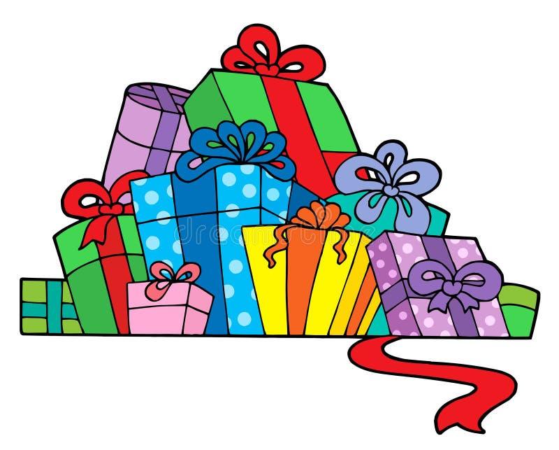 Pila de varios regalos ilustración del vector