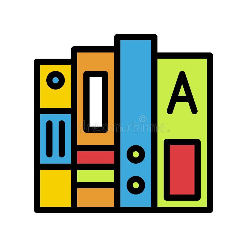 Pila de vector de los libros, de nuevo a icono llenado escuela del diseño stock de ilustración